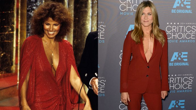 <strong>Raquel Welch in 1978 and Jennifer Aniston in 2015</strong> <br><br> Raquel and Jennifer both opted for plunging necklines - and filled the gaps with gold jewellery.