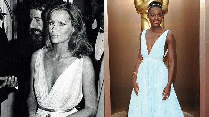 <strong>Lauren Hutton in 1975 and Lupita Nyong'o in 2014</strong> <br><br> Flowy, feminine gowns can never go awry.