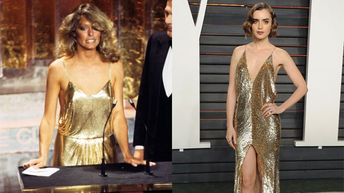 <strong>Farrah Fawcett in 1978 and Lily Collins in 2016</strong> <br><br> Both women look effortlessly stylish and flawless; Lily has taken old Hollywood glamour even further with her wavy side bob.