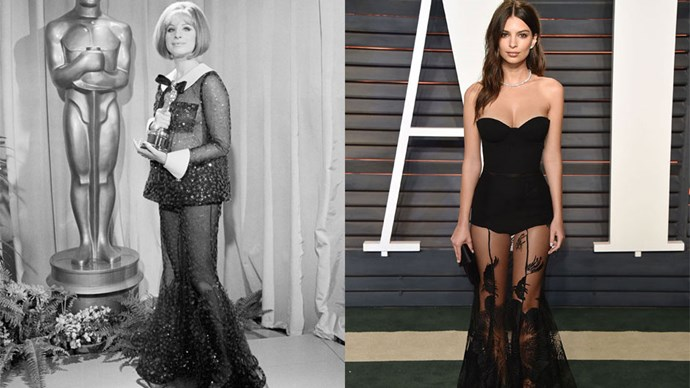 <strong>Barbara Streisand in 1969 and Emily Ratajkowski in 2016</strong> <br><br> Talk about daring, Em Ratajkowski channels a sexy look first donned by Barbara Streisand back in 1969.
