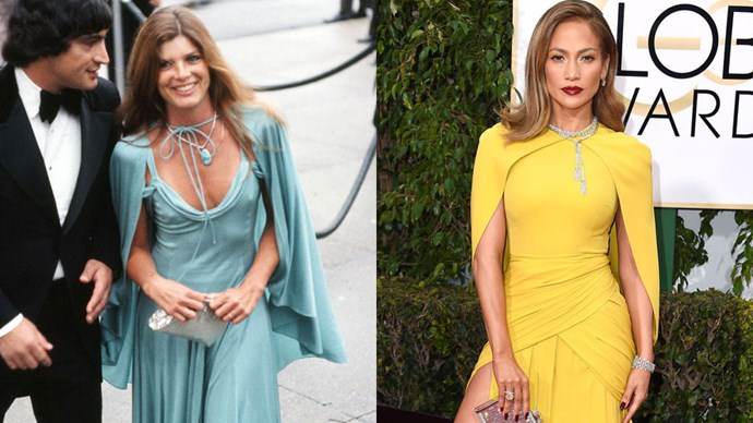 <strong>Katharine Ross in 1975 and Jennifer Lopez in 2016</strong> <br><br> Not only has the cape remained in style for over 40 years, its had many a red carpet moment.