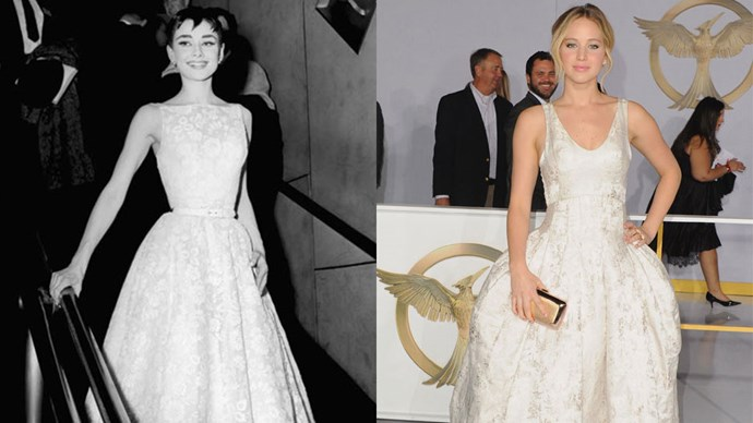 <strong>Audrey Hepburn in 1953 and Jennifer Lawrence in 2014</strong> <br><br> Audrey and Jennifer are the epitome of elegance in Givenchy and Dior, respectively.