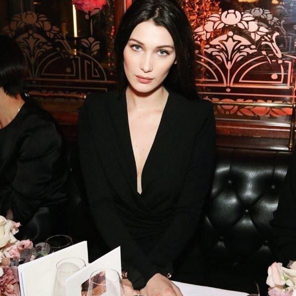 "Bella Hadid's dark hair and ultra-dewy skin is always a winning combination.<p> <p> @bellahadid: ""@voguemagazine dinner last night""."