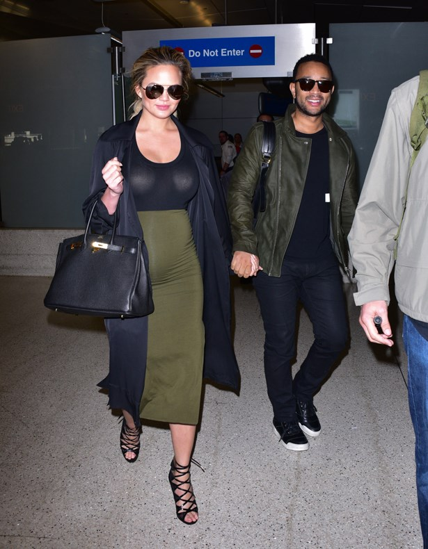 We respect Chrissy's commitment to body-con and heels fresh off a flight (althought personally, we're sticking to sweatpants and free slippers).