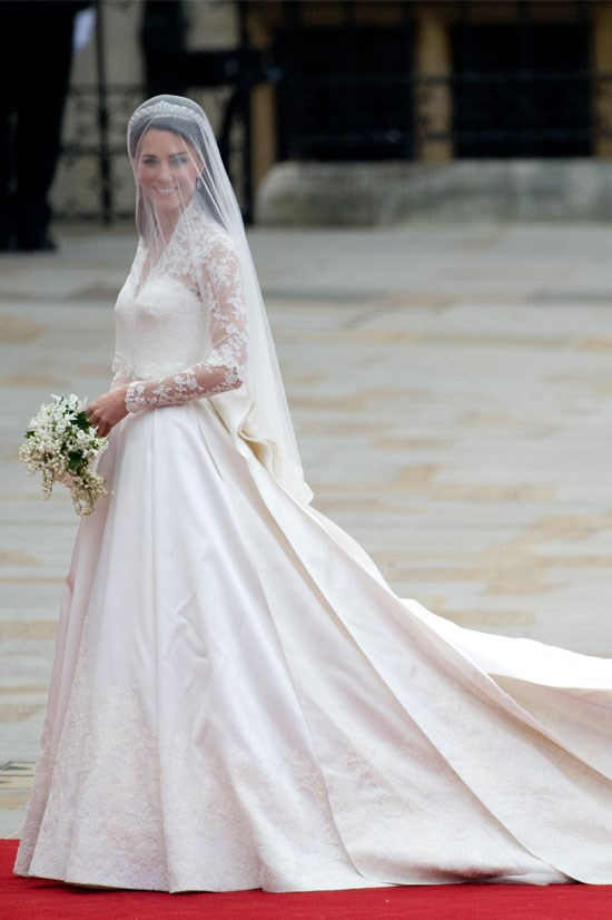 Wearing Alexander McQueen at her wedding in April 2011.