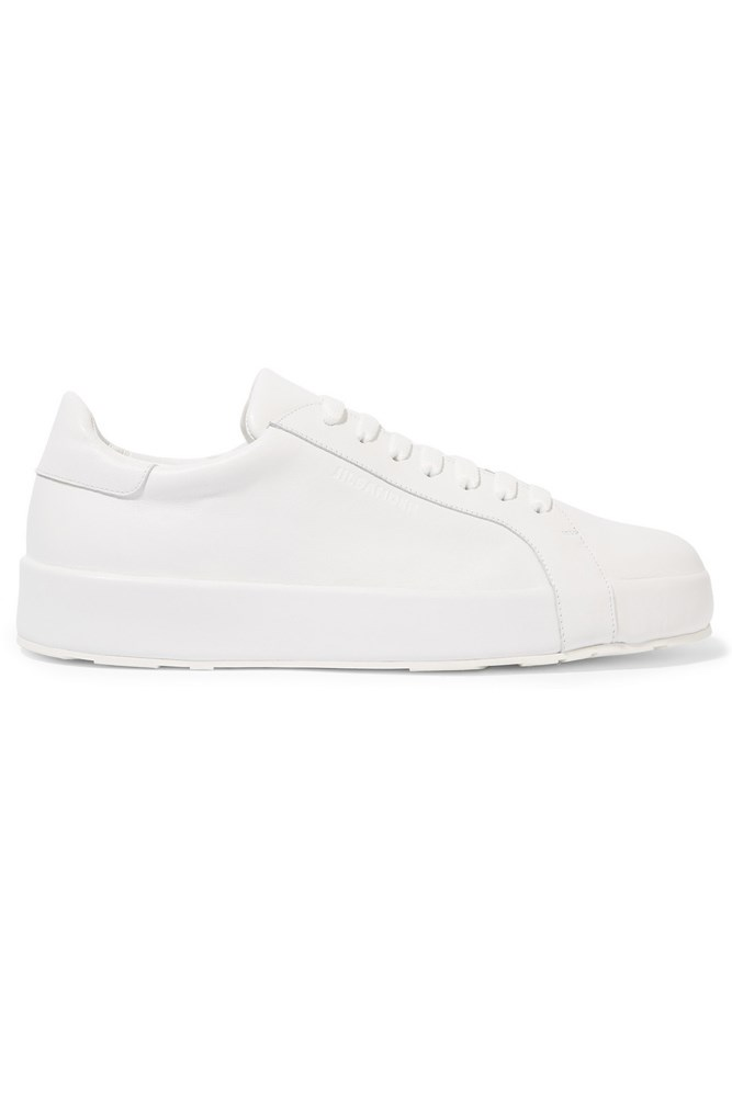 "<a href=""https://www.net-a-porter.com/au/en/product/683253/jil_sander/leather-sneakers "">Sneakers, $460, Jil Sander at net-a-porter.com</a>"