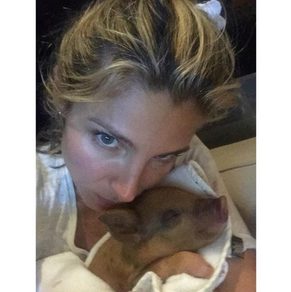 """Elsa Pataky introduced the Hemsworth's new family addition, Tina the pig! """"The new Member of the family! Tina!"""" wrote Elsa."""