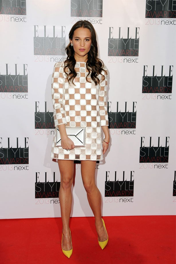 Alicia Vikander attends the UK ELLE Style Awards, February 2013