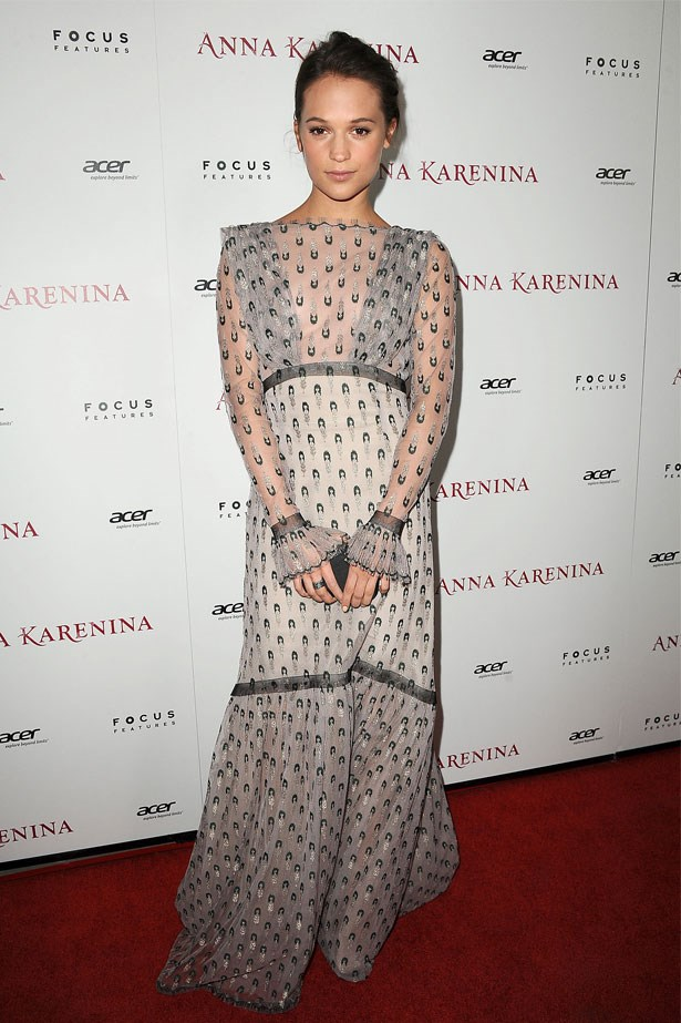 Alicia Vikander attends the Los Angeles premiere of <em>Anna Karenina</em>, November 2012