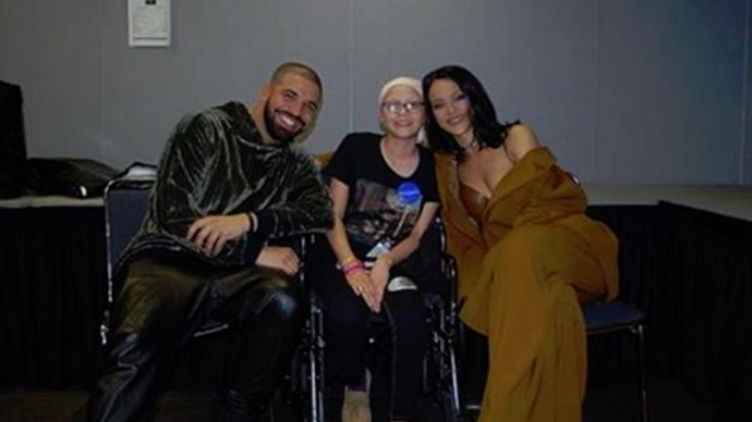 Drake and Rihanna with fan Megan