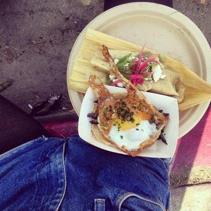 """<a href=""""https://www.instagram.com/p/vZNcGay2b_/?taken-by=emrata&hl=en"""">""""Blue jean breakfast""""</a> <br><br> Are those two breakfasts?!"""