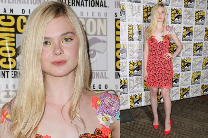 <strong>Elle Fanning</strong> <br><br> Fanning's playful Comic-Con look is a subtle nod to the trend.