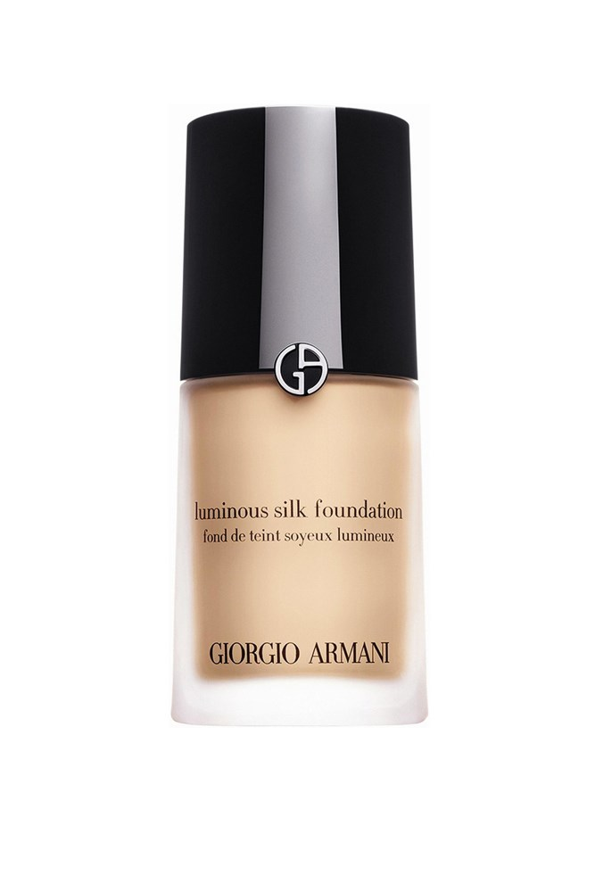 "<strong>Luminous Silk Foundation, $95 for 30ml, Giorgio Armani</strong><br> This MVP is relied upon by a total of six <em>ELLE</em> staffers, adored for its light coverage and ever-so-slight sheen, but beauty associate Amy Starr sums it up best: ""lovely and luminous—true to its name!"""