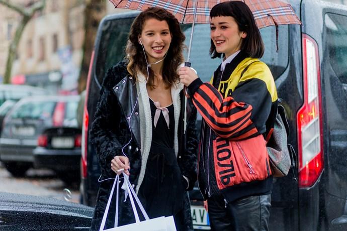 Models at Milan Fashion Week.