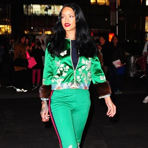 Rihanna in a Gucci tracksuit