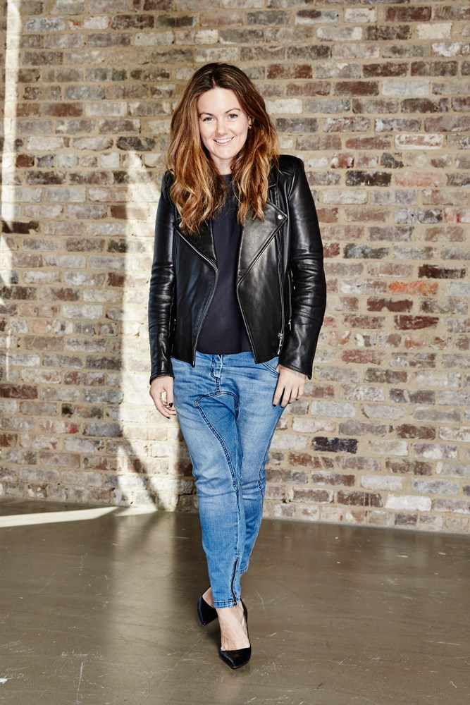 "<strong>Amanda Spackman, digital product manager</strong><br> <em>Drop-crotch blue denim jeans by Camilla And Marc</em><br> ""You'll always find me in drop-crotch jeans teamed with a leather biker and a killer heel for work. My off-duty look is a little more laid-back in a '70s wide-leg style, Stan Smiths and a white tee."""
