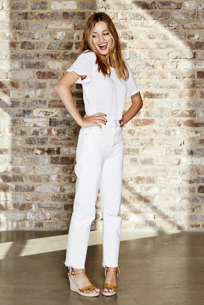 "<strong>Claudia Jukic, editorial and fashion news coordinator</strong><br> <em>White ""mom jeans"" by Ksubi</em><br> ""I never thought I'd say 'I love my high-waisted, white, cropped mom jeans,' but DAMN I love my Ksubi high-waisted, white, cropped mom jeans. The fresh colour works with just about every top in my wardrobe and they're wide enough to give off trouser vibes for fancier occasions."""