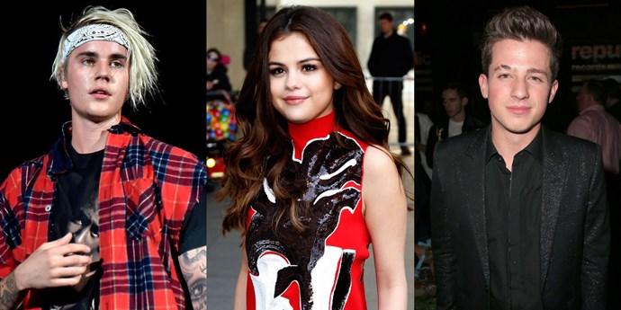 Justin Bieber, Selena Gomez and Charlie Puth.