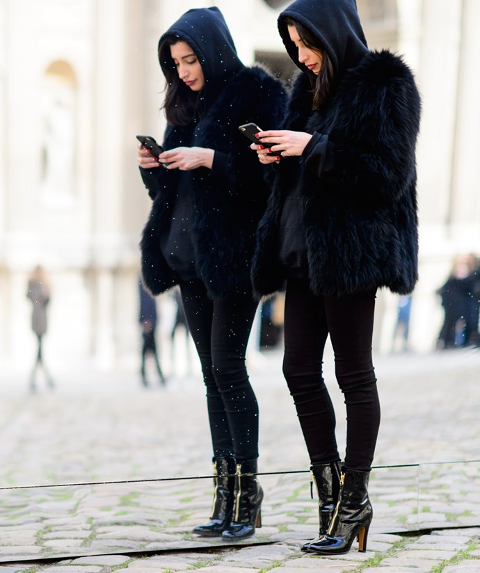 Over black? Go ahead and stock your closet with black staples, but make sure you've got a few with interesting textures (faux fur, patent leather, suede). Head-to-toe black can look super boring, but if you play with textures, it changes the game.