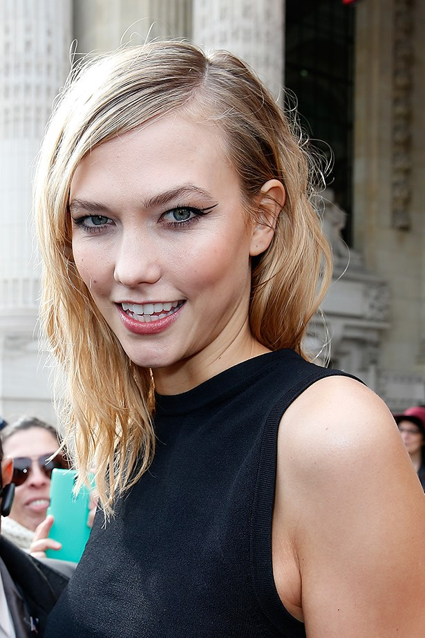 2015, Straight from the runway at <em>Paris Fashion Week</em>, Karlie takes the graphic eyeliner from <em>Mugler's AW15/16 show</em> to the street.