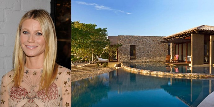 "<p> <strong>Punta Mita, Mexico</strong>.<p> <p> Of course Goop maven Gwyneth Paltrow stayed in a 6-bedroom villa ""conceived by renowned eco-sensitive architects"" when she visited <a href=""http://www.veranda.com/luxury-lifestyle/a1461/gwyneth-paltrow-airbnb-rental-mexico/"">Punta Mita, Mexico</a>.  The pad also has a yoga room, two infinity pools, and farm-to-table meals prepared by the estate chef. Now that's a vacation home we'd like to be invited to."