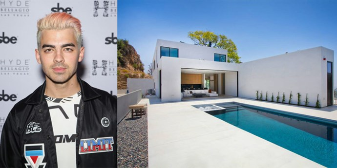 <p> <strong>Los Angeles, California.</strong><p> <p> After his split from Gigi Hadid, DNCE frontman Joe Jonas shacked up in this seven bedroom bachelor pad. Perched at the summit of Los Angeles' Runyon Canyon, the space offers floor-to-ceiling windows, a movie theater, and Jacuzzi.
