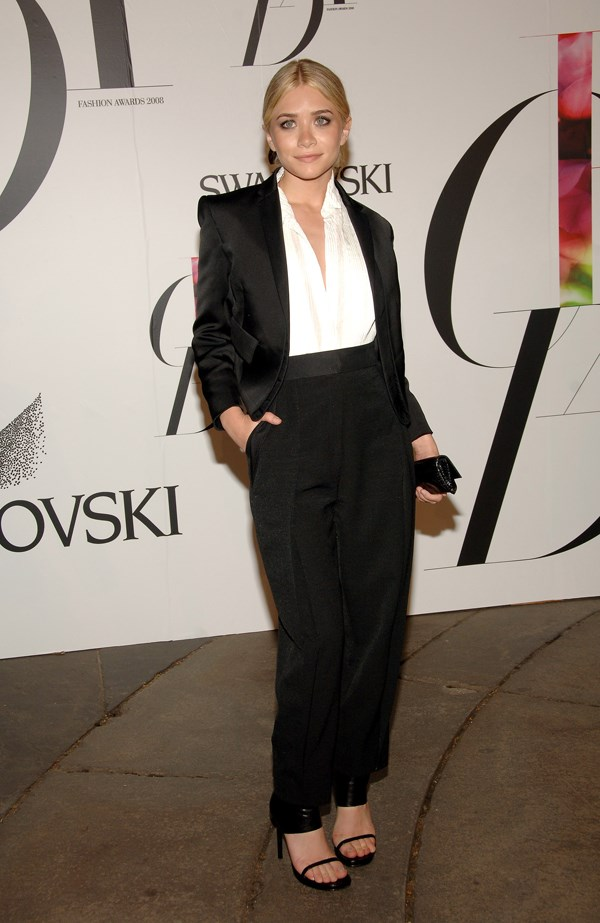 Ashley Olsen wore this loose-trousered pantsuit to the CFDA Awards in 2008.