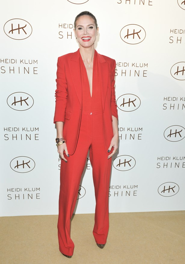 Heidi Klum did red monochrome at the 2011 launch of her perfume 'Shine'.