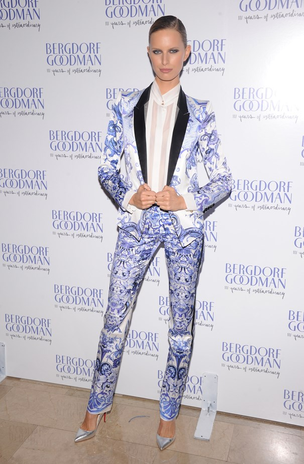 Karolina Kurkova made a statement in this patterned blue and white suit.
