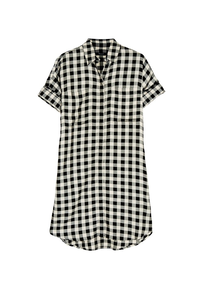 "<a href=""https://www.net-a-porter.com/au/en/product/651780/madewell/checked-twill-shirt-dress"">Dress, $176, Madewell at net-a-porter.com</a>"
