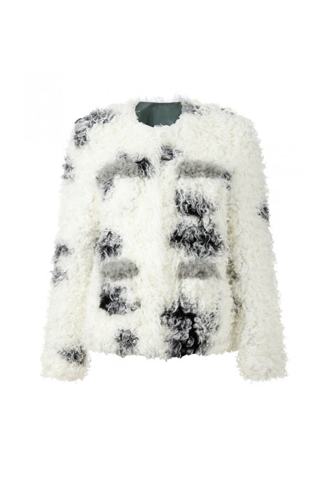 """Shrimps has been on the up since 2013 and their version of faux fur and shearling is so fun, it has this winter-hater considering a cross-Pacific relocation to Alaska."" – <em>Claudia Jukic, editorial and fashion news coordinator</em><br> <a href=""http://shrimps.co.uk/shop/all-coats/cindy-jacket"">Jacket, approx. $890, Shrimps</a>"