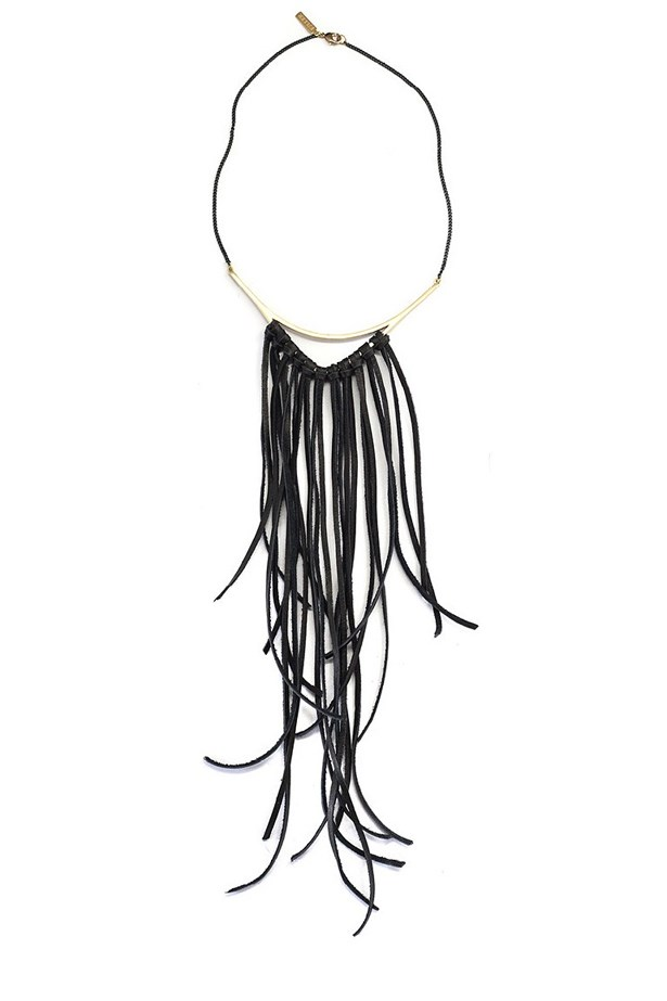 "<a href=""www.sucrenyc.com/product/k-ller-collection-tri-collar-with-leather-fringe"">Tri Collar With Leather Fringe, $280, K/LLER Collection at Sucrenyc.com</a>"