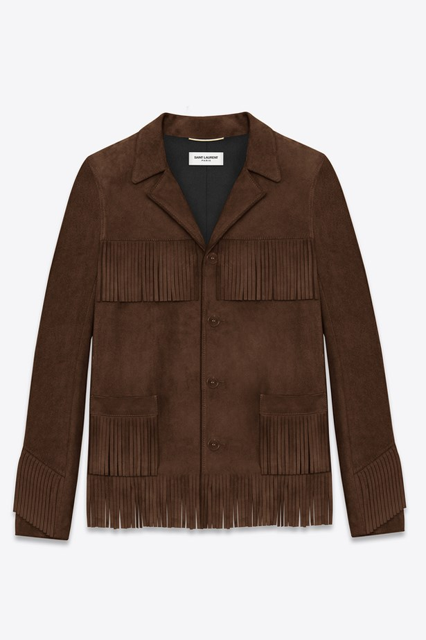 "<a href=""http://www.ysl.com/gb/shop-product/women/ready-to-wear-leather-jacket-classic-curtis-fringe-jacket-in-brown-suede_cod34588407hp.html"">Classic Curtis Fringe Jacket, $4575, Saint Laurent at ysl.com</a>"