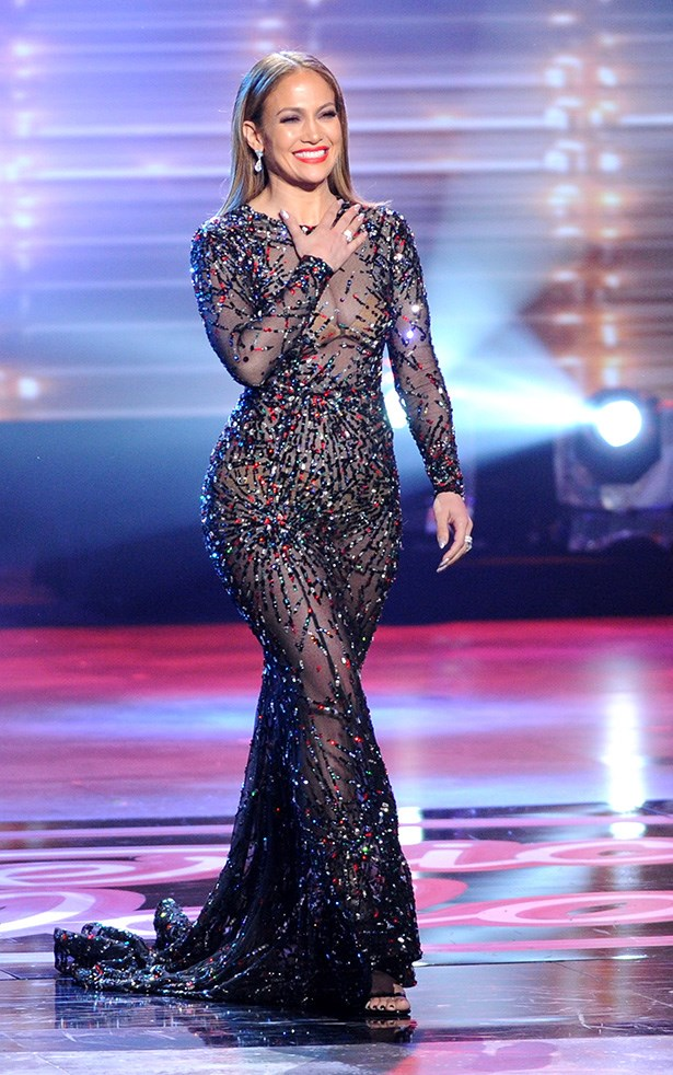 Jennifer Lopez proved her commitment to the naked dress trend on American Idol last night where she performed in this racy number.