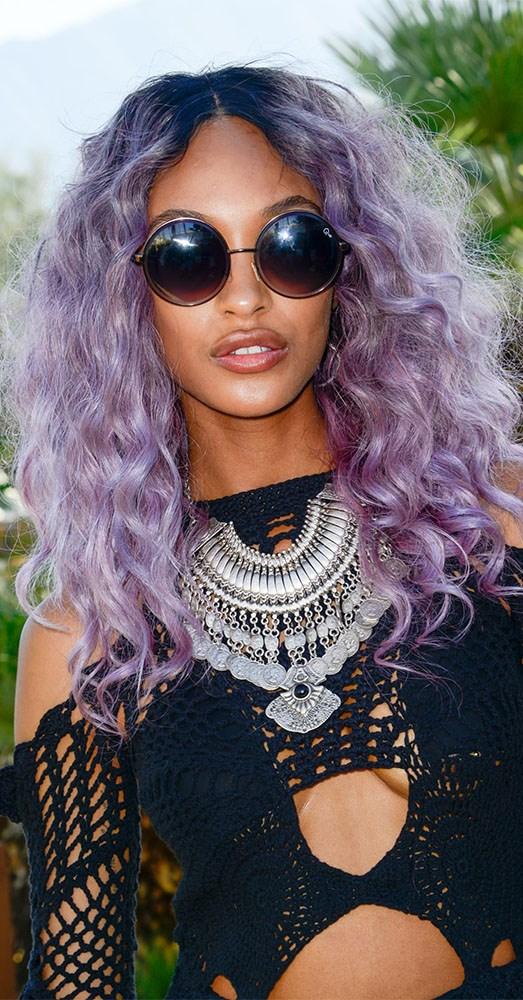 Jourdan Dunn sporting vibrantly purple hair at Coachella in 2015