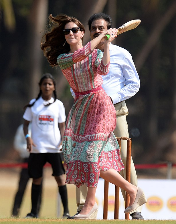Kate took up her mantle as the royal family's bossest princess by playing some sports out in the Indian sun—in heels. Kate wore a local designer, Anita Dongre and some unsinkable nude wedges.