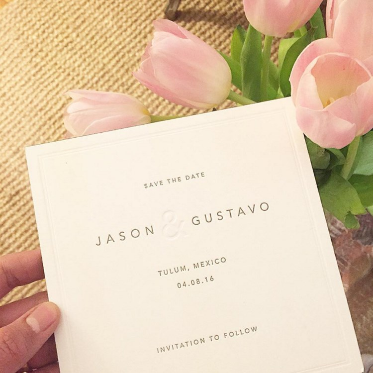 Guest Bryan Boy's (chic) save-the-date card.<br><br><em>Image credit: Instagram</em>
