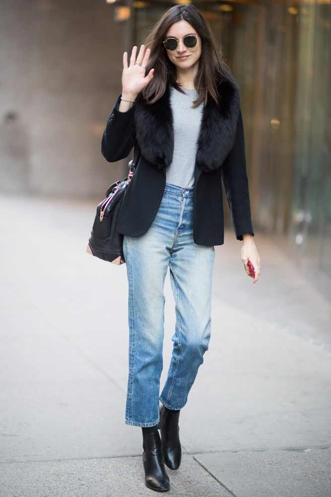 Jacquelyn Jablonski proves the power of a classic black ankle boot in New York.