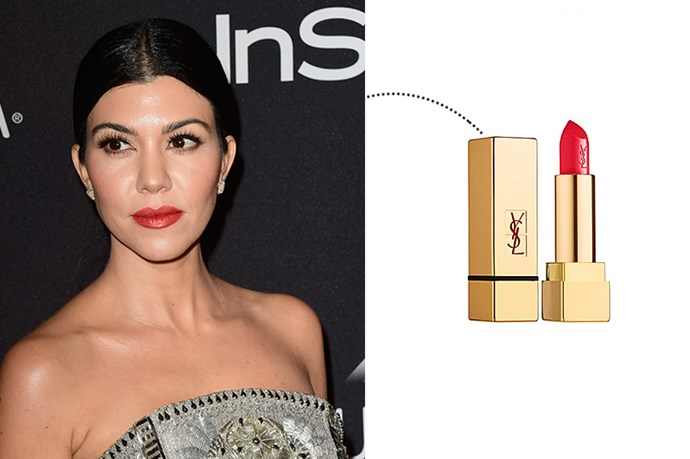 "<p> Kourtney Kardashian<p> <p> <a href=""http://www.yslbeautyus.com/lips/lipsticks"">Yves Saint Laurent Rouge Pur Couture Lipstick in 'Le Rouge'</a>."