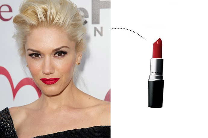 "<p> Gwen Stefani<p> <p> <a href=""http://www.maccosmetics.com.au/product/shaded/168/310/Products/Lips/Lipstick/Lipstick/index.tmpl"">M.A.C. Lipstick in 'Russian Red'</a>."