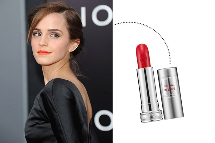 "<p> Emma Watson<p> <p> <a href=""http://www.lancome.com.au/makeup/lips/lipsticks/rouge-in-love"">Lancôme 'Rouge In Love'</a>."
