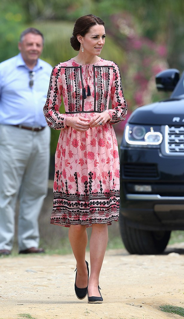 Kate continued her affordable princess streak by wearing this pink dress from Topshop, which comes in at $140.