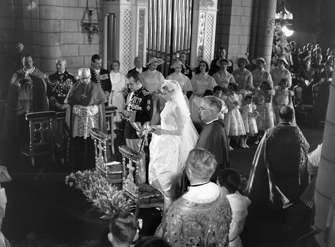 Grace carried a custom-made pearl-encrusted bible with her to the altar.