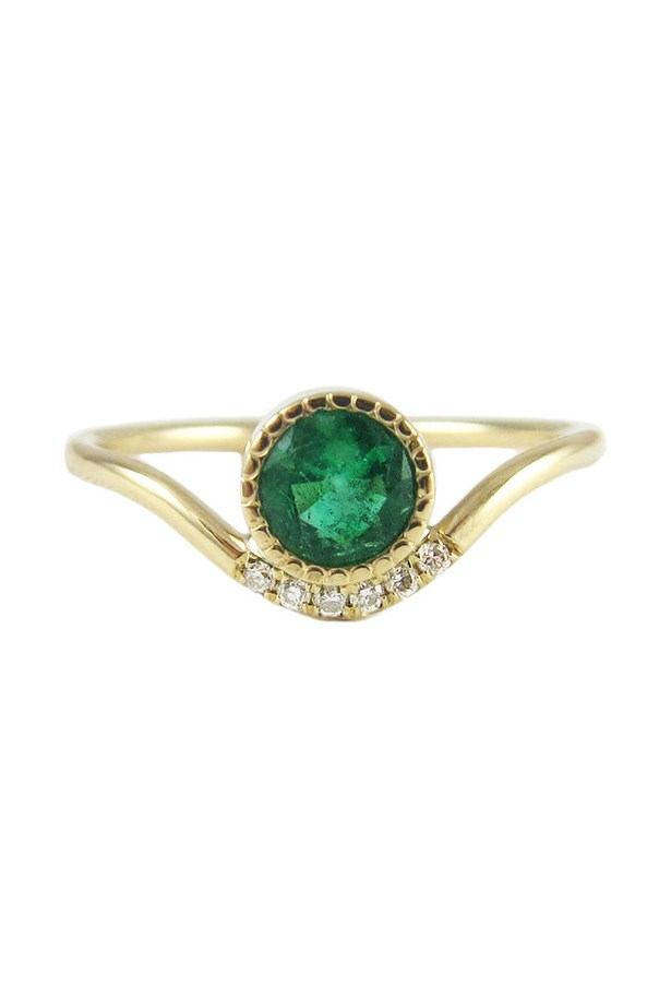 "<a href=""http://jenniekwondesigns.com/products/emerald-wave-ring"">Jennie Kwong Emerald Wave Ring</a>, $1,520 AUD."