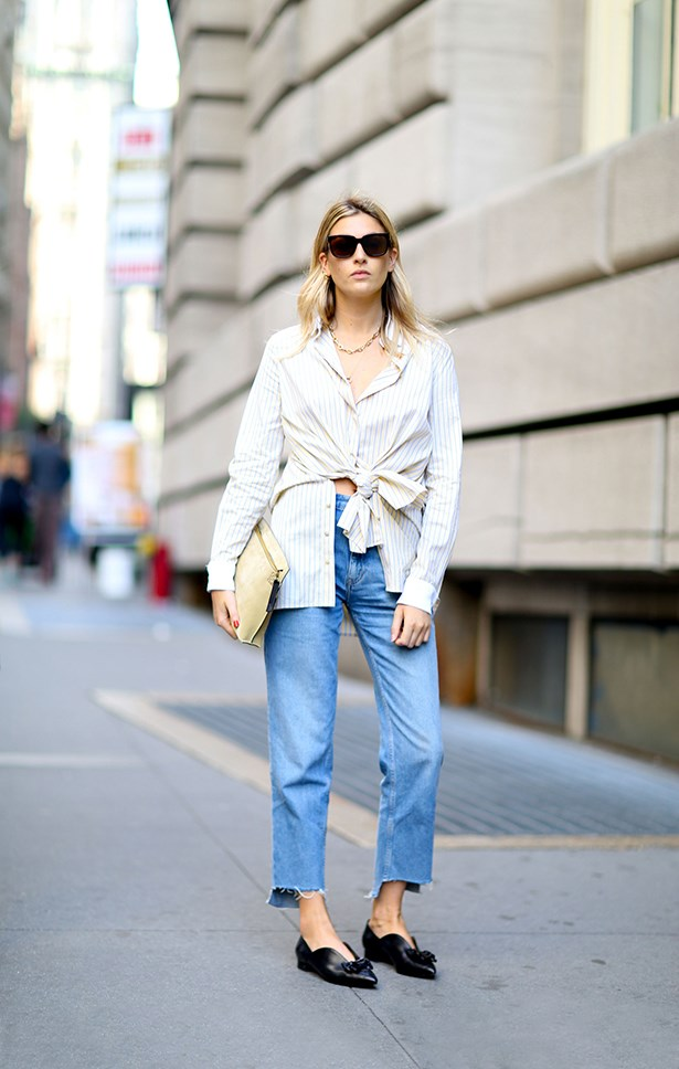 """Step-hem jeans take this cotton shirt, buttery bag and cute flats to girl-crush status."""
