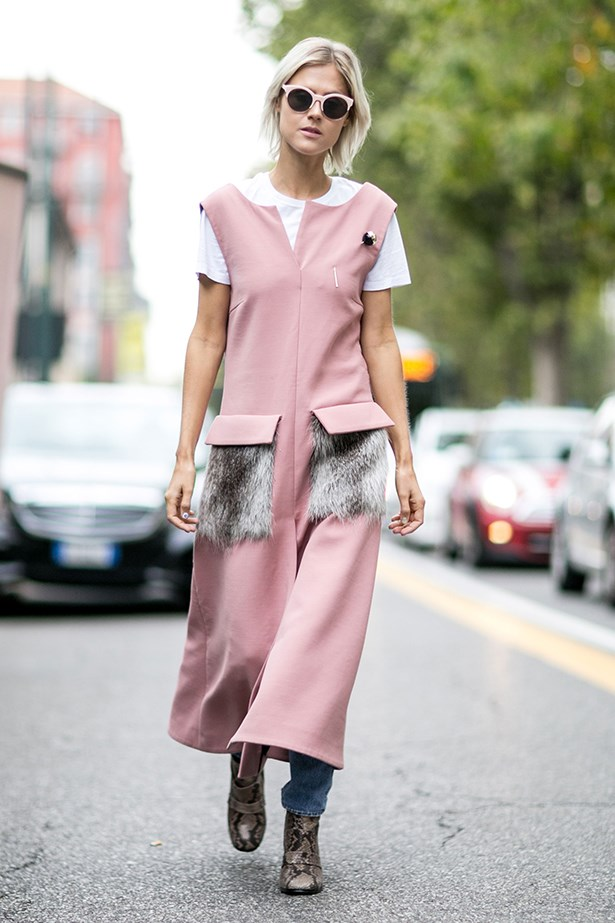 """Make like Marni and give pink a punk twist with fur pockets and pavement-pounding snakeskin boots."""