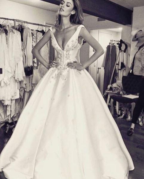 "<p> Nicole's dress was custom Steven Khalil.<p> <p> Image via <a href=""https://www.instagram.com/nictrunfio/"">Nicole Trunfio's Instagram</a>."