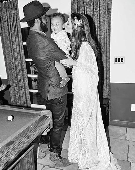 """<p> Nicole changed into a lace dress for the reception.<p> <p> Image via <a href=""""https://www.instagram.com/nictrunfio/"""">Nicole Trunfio Instagram</a>.</a>."""