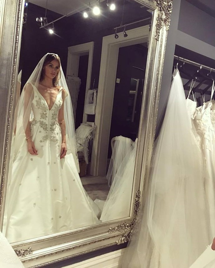 """<p> Nicole's dress featured a full skirt and delicate embellishments.<p> <p> Image via <a href=""""https://www.facebook.com/NicoleTrunfioOfficial/photos/a.139381219416054.17499.136766736344169/1124280114259488/?type=3&theater"""">Nicole Trunfio's Facebook</a>."""