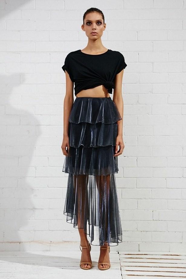 """<a href=""""https://www.archfashion.com.au/shona-joy/meriel-tiered-midi-skirt"""">Meriel Tiered Midi Skirt, $224, Shona Joy at archfashion.com.au</a>"""